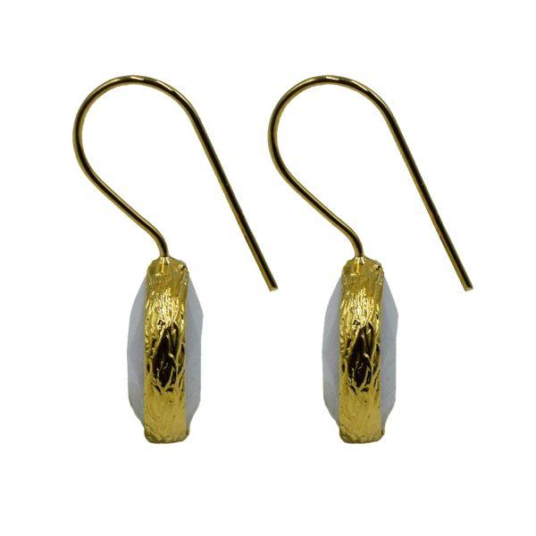 Σκουλαρίκια Αυτιού Μπρούτζινα Επιχρυσωμένα με Ημιπολύτιμους Λίθους – FSTN13