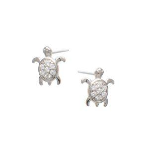 Σκουλαρίκια Αυτιού Ασημένια Επιπλατινωμένα με Σχέδιο και Ζιργκόν – D33-8404